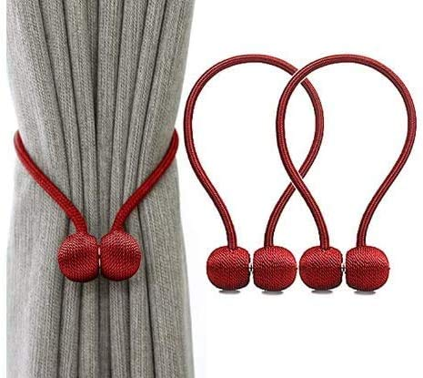 2 x Vorhang-Clips, Vorhangschnalle, Raffhalter, Magnet-Clips, einfach um Ihre Vorhänge zu Hause oder im Büro zu befestigen, rot