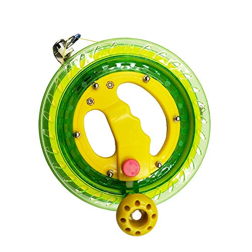 Kite Line Reel Winder 7 inches(Dia) Macaron Green Smooth Rotation Ball Bearing Tool, Winding Reel Grip Wheel Handle with 656 ft Durable String and Lockable Outdoor Kite Accessories