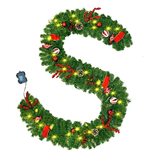 ALLADINBOX 9 Foot Prelit Artificial Christmas Garland 50 Lights Xmas Garland Battery Operated, with Christmas Ball Ornaments, Pine Cone for Indoor Home Winter Holiday New Year Xmas Decorations