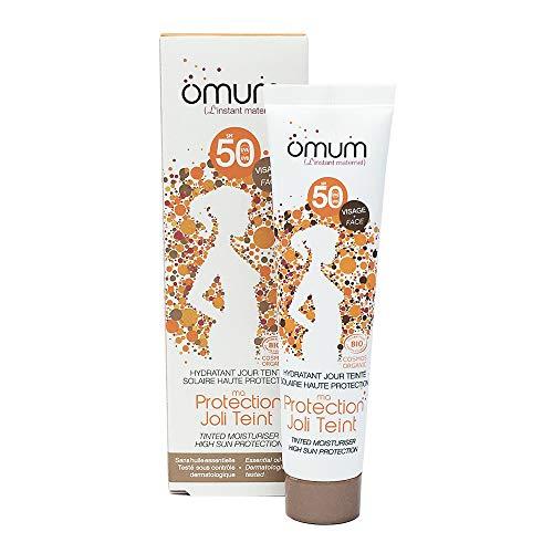 OMUM - Crema hidratante solar tintada orgánica para protección de la piel, color beige, lote de 2