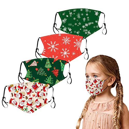 5pcs Kids Reusable Breathable Cloth Face Bandana Cartoon Printed Face Protective for Children Outdoor Public and in School (Christmas C)