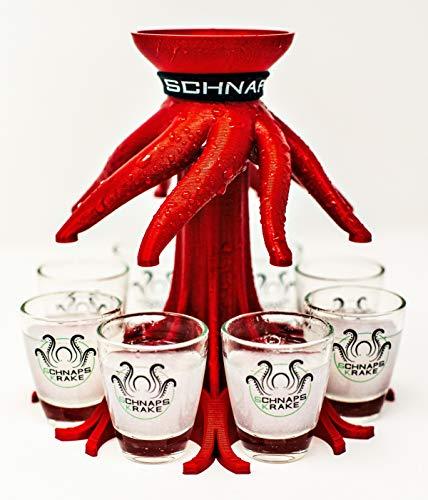 Schnapskrake® - Das Original- Schnapsverteiler für 8 Personen - made in Germany (rot-metallic, inkl. Gläser) - Schnaps Ausgießer