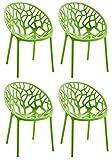 LCSA 4er Set Gartenstuhl Hope Kunststoff Stapelstuhl Bistro Küchenstuhl stapelbar (Color : Grün)