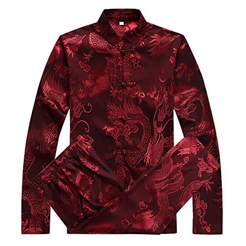 Meijunter Chinesisch Kleidung Tang Anzug - Traditionell China Martial Kunst Kung Fu Tai Chi Langarm Kostüm Anzüge für Herren (Rot)