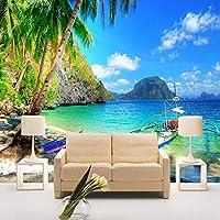 写真の壁紙パームビーチ海辺の風景自然3D壁画リビングルームベッドルームモダンな装飾-150x120cm