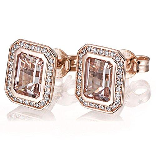 Goldmaid Damen-Ohrstecker Reflexion 585 Rotgold 56 Diamanten 1 Morganit Ohrringe Brillanten Schmuck