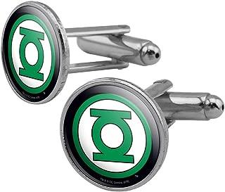 GRAPHICS & MORE Green Lantern Logo Round Cufflink Set Silver Color