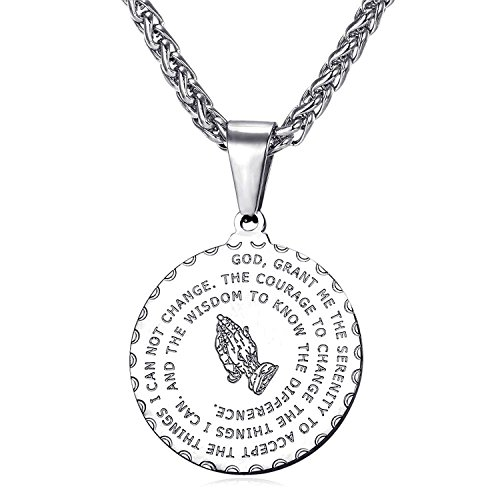 Bible Verse Prayer Necklace Free Chain Christian Jewelry Stainless Steel Praying Hands Coin Medal Pendant (Silver)