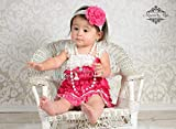 Girl's Hot Pink Flower and White Lace Dress set, Girl Dark Pink Lace Dress