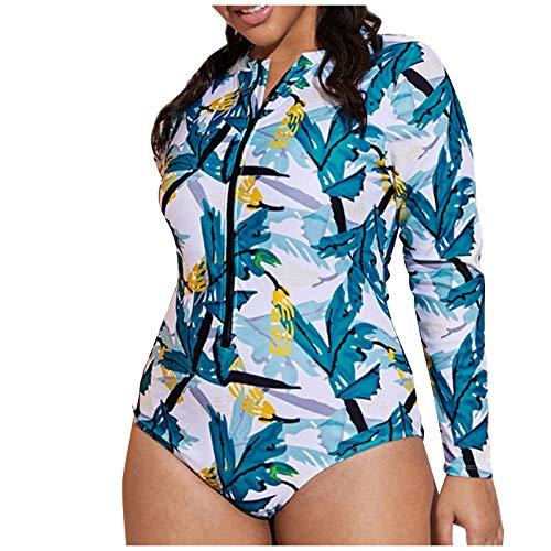 UoBfine Bañador para mujer push up de una pieza, manga larga, estampado de flores, traje de baño para surf y deportes acuáticos, traje de surf de una pieza con protección UV, azul, L