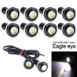ePathChina 10 unidades 18 mm ojo de águila de alta potencia blanco 12 V coche niebla DRL foco marcha atrás estacionamiento señal lámpara