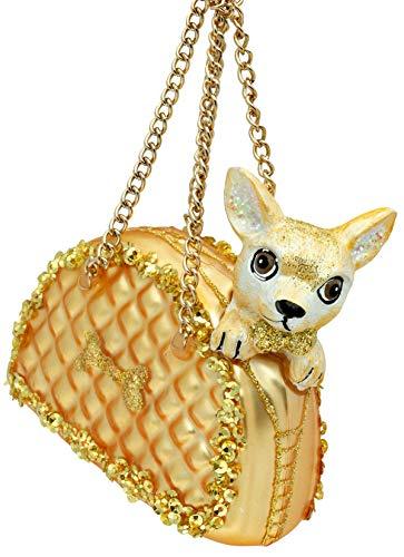 SIKORA BS487 Chihuahua in der Handtasche Christbaumschmuck Glas Figur Weihnachtsbaum Anhänger