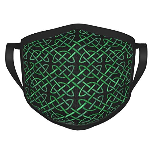 Black and Green Celtic Knot Pattern Cloth Face Masks Washable Reusable and Adjustable Face Covers Suitable for Men Women Adult