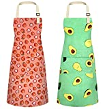 2Pcs Cute Chef Aprons for Women Cotton Bib Kitchen Linen Aprons Female Cooking Apron with Pocket for Men(Avocado+Strawberry)
