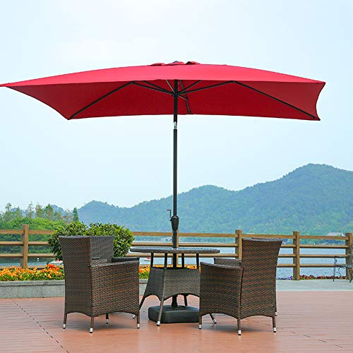 Wgwioo Patio Umbrella Parasol, 2 X 3M Garden Umbrella, UV Protection Up To UPF 50, Perfect for Hotel, Beach, Patio, Garden, Yard, Deck,Red