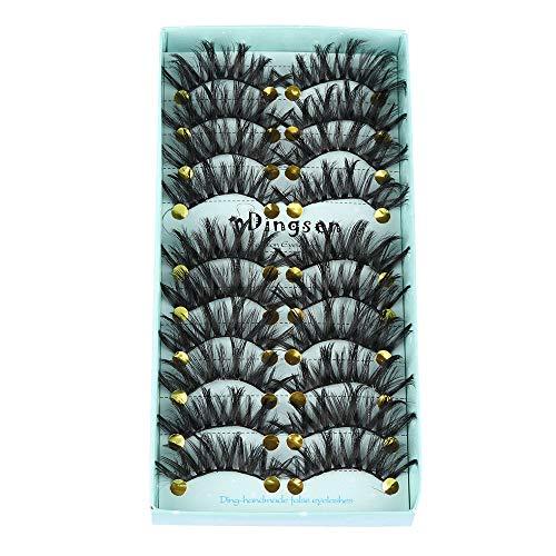 10 paires de faux cils en faux vison 3D de longs cils naturels moelleux faux cils à la main multi-styles(Style 14)