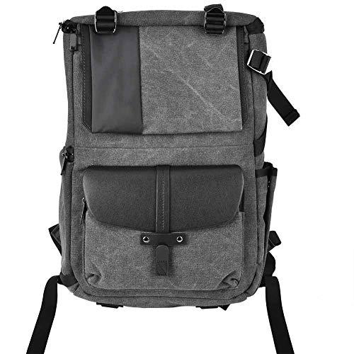 Zaino per fotocamera, borsa per spalle in tela impermeabile multifunzione con pareti divisorie per laptop, cover antipioggia per laptop da 15 pollici, obiettivo, accessori per fotocamera (grigio antra