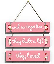 100yellow Love Quote Wall Hanging Board Plaque Sign for Room Decoration (12 x 10.5 Inch)
