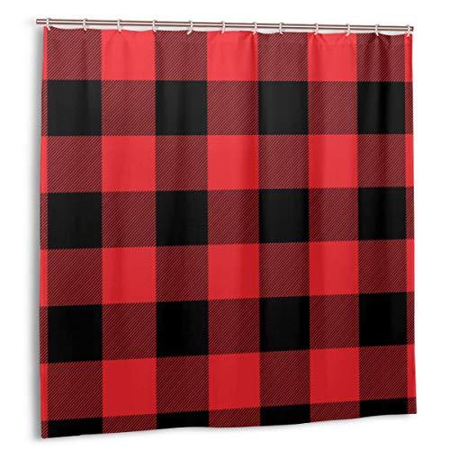 Uliykon Cortinas de ducha con 12 ganchos de 72 x 72 pulgadas, papel de regalo a cuadros rojos, resistente al agua, decoración de baño