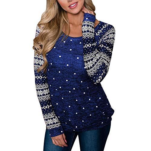 Frauen Bluse Damen Langarmshirt Tops Elegant Lose Baseball T-Shirt Sweatshirt Bluse Ultra Bedrucktes Basic Pullover Top Casual Strick Oberteile Langarm Tunika Schneeflocke T-Shirts(Blau,L)