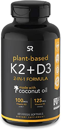 Vitamin K2 + D3 with Organic Virgin Coconut Oil | Vegan D3 (5000iu) with MK7 Vitamin K2 (100mcg) from Chickpea | Non-...