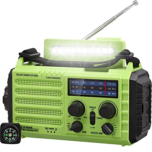 AM/FM/SW Baustellenradio Kurbelradio, Tragbares 5-Wege Wetter Solar Radio,Dynamo Handkurbel,Power Bank,LED Camping Licht,SOS-Alarm,Kompass,USB-Anschluss zum Aufladen des Mobiltelefons im Notfall