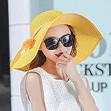 YYMMQQ Sombrero para el solVenta Caliente Sombreros de Sol de Verano para Mujeres Gran Borde con Cintas Arco Sombrero de Playa Sombrero de Mujer Sombrero deSol Protección UV, Amarillo
