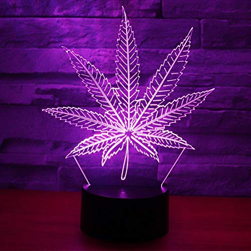 Luz De Ilusión 3D Luz De Noche Led Moda Planta Hojas Hoja De Cannabis Lámpara De Mesa De Acrílico Lámpara De Decoración Para Dormitorio Lámparas De Noche Dormitorio 5V Usb Cumpleaños Para Niños