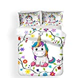 Pterygoïd Collection Parure de lit avec housse de couette et taies d'oreiller, motif licorne, Djs77, Single(135x200 cm)-fit for 90CM bed