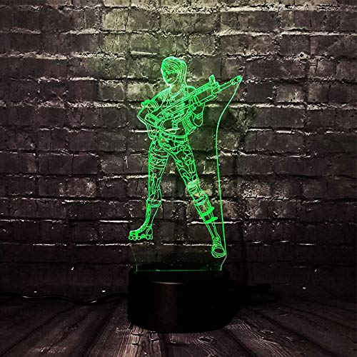 Hero 3D Lámpara de ilusión LED Luz nocturna Mesita de noche óptica Luces nocturnas 16 Cambio de color Botón táctil Decoración Lámparas de escritorio,