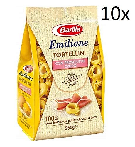 10x Barilla Emiliane Tortellini all'uovo mit rohem Schinken Nudeln mit ei 250g