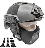 Tactical Airsoft Fast Helmet PJ Type and Metal Mesh Mask Foldable Double Straps Protect Ear Full Face Protection (Black)