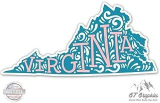 GT Graphics Virginia Shape Cute Letters Native Local - Vinyl Sticker Waterproof Decal