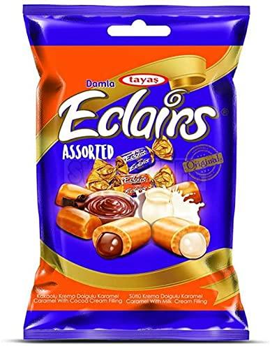 Damla Eclairs Sortierte Süßigkeit mit Füllung - Milch, Kakao, Karamell-Bonbons - Toffee kaut, 1kg