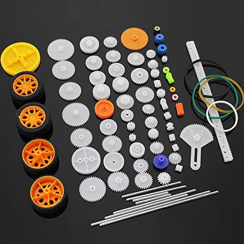 MZMing [78 Pack] Juego de Engranajes de Plástico de Bricolaje Engranaje de Reducción Simple Doble Engranaje de Corona Cinturón Neumático Eje Accesorios Modelo Robot de Juguete Coche RC-Avión Piezas