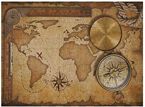 Mapa para niños Rompecabezas 1000 Piezas, Envejecido, Antiguo, Mapa del Tesoro, Regla, Cuerda, brújula Antigua, Descubrimiento de Aventuras, marrón, marrón pálido