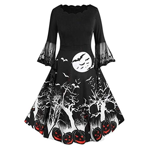 Review Of Women Halloween Vintage Dress | Ladies Long Sleeve Retro 1950s a Line Dresses Cocktail Cosplay Swing Dress (M, Black)
