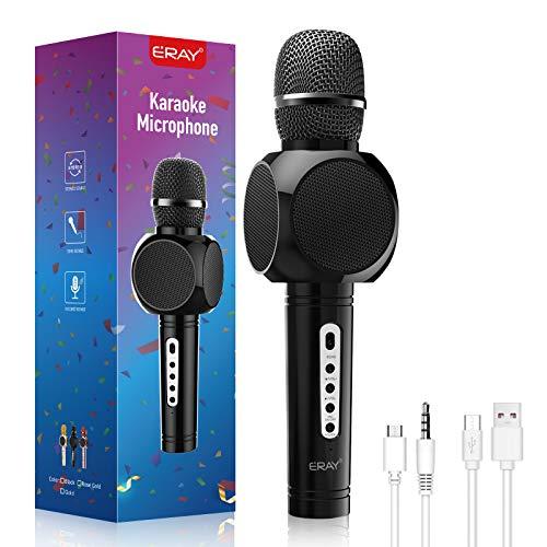 ERAY Micrófono karaoke Bluetooth, Micrófono Inalámbrico Karaoke 4 en 1, 2 Altavoces Incorporados, 3.5mm AUX, Compatible con Smartphone, Buen Regalo para los Niños o Adultos, Color Negro (Modelo E103)