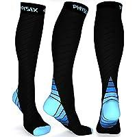Physix Gear Sport Calcetines de compresión, los Mejores Calcetines compresión Mujer y Hombre para el Dolor de pies y Gemelos, Medias de compresión Hombre y Mujer, 1 par, L/XL, Negro/Azul
