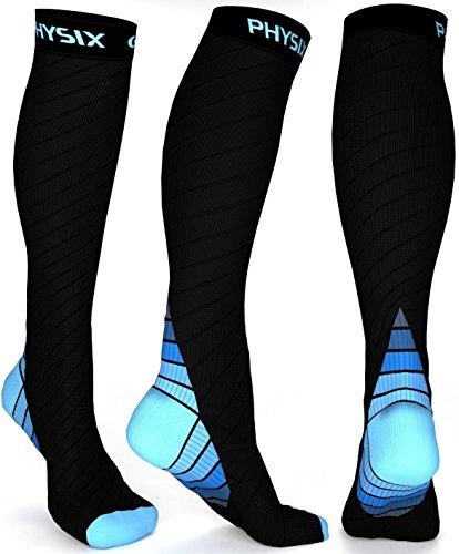 Physix Gear Sport Calze Compressione Graduata Uomo e Donna (20-30 mmHg) - Calze Elastiche Sportive per circolazione, vene varicose, Gravidanza, antitrombo, Ciclismo, Running, Aereo Blu L/XL