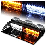 NISUNS 16 LED High Intensity LED Law Enforcement Emergency Hazard Warning Strobe Lights 18 Modes for Interior Roof/Dash/Windshield with Suction Cups (White/Amber)