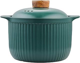FCSFSF Resistente Al Calor Olla De Arroz Cocina,Estofado,Artesanal Casserole De Cerámica con Tapa,No-Palo,Japonés Cazuela Eathern Donabe Hot Pot,Dolsot Pot Verde 3.6l