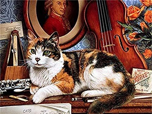 Digitale Schilderij door Getallen Kits Kat Liggend op de Tafel Olieverfschilderij op Canvas Muurdecoratie voor Home Gift voor Nieuwe Accommodatie Bruiloft voor Volwassenen Kinderen Beginners