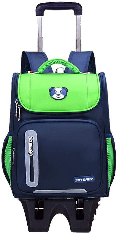 QAZ Zaini rossoolanti per Bambini Borse da Scuola con Ruote Borsa da Viaggio Zaino Zaino Trolley borsa 5-12 Anni Zaino per Trolley,verde-2ruedas