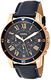 Fossil Men's Grant Sport Quartz Leather Chronograph Watch, Color: Rose Gold, Blue (Model: FS5237)