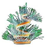 HIAHA Coral Artificial Que Brilla Intensamente del Silicón del Acuario, Decoración Colorida De La Planta De La Anémona del Paisaje Que Brilla Intensamente del Tanque De Pescados Casero Verde 75cm