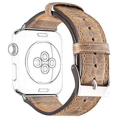 DaGeLon Stilvoll Leder Uhrenarmband für iWatch 40mm Series 5 Series 4 38mm Series 3 Series 2 1, Retro Lederarmband Strap Robust Ersatzband Armband für Apple Watch Sport Edition Nike+ Hermes, Braun