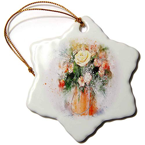 Blake55Albert Lens Art by Florene Watercolor Art Image of Still Life Orange Pail with Yellow Rose and Mixed Floral Christmas Ornaments for Kids Christmas Tree Decoration Ceramic 3 Inches