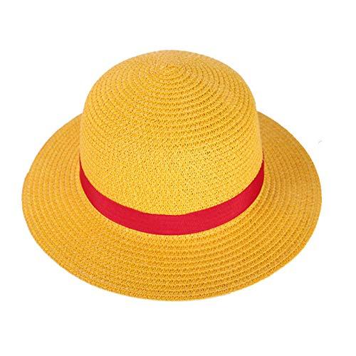 NA Chapéu de palha para meninos e meninas, uma peça, chapéu de palha fofo, para cosplay, chapéu de praia listrado, vermelho, 31 cm de diâmetro 01