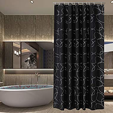 Sfoothome Polyester Fabric Small Size Shower Curtain Waterproof/No Mildews Bathroom Shower Curtains,Black Siliver Circle (36x72)